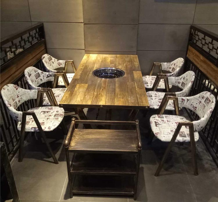 橙色时代实木火锅桌子装修效果图
