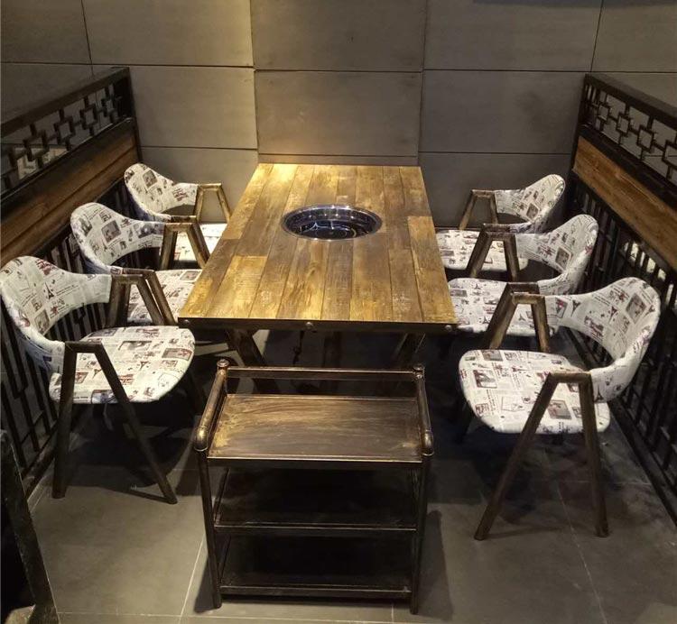 橙色时代六人实木火锅桌子实拍图片