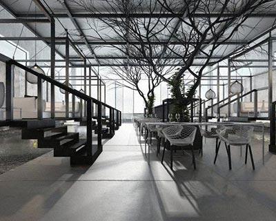 黑白世界的西餐厅桌椅装修效果图