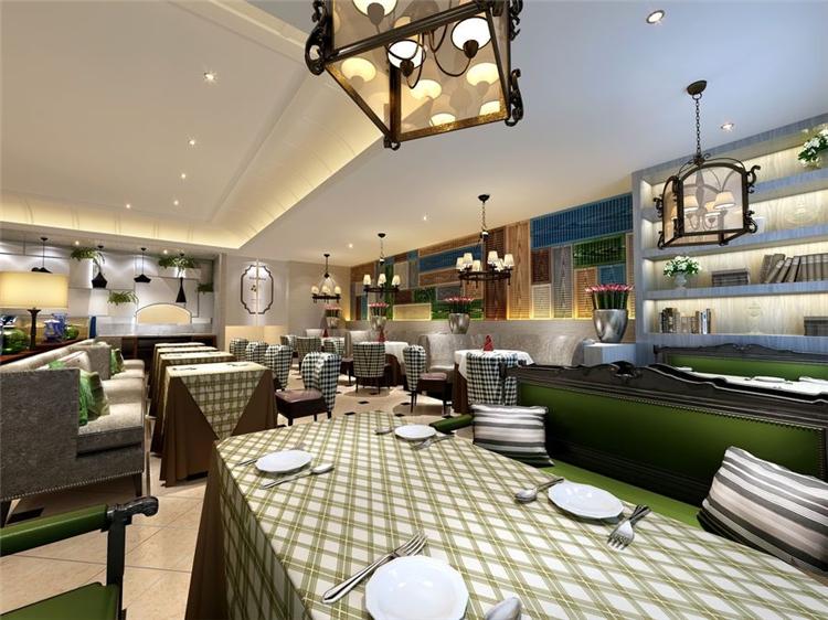 银格顿牛排西餐厅桌椅装修效果图