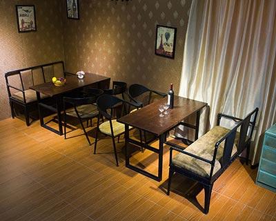 钢木快餐桌椅_型号SB004