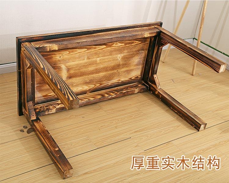 分体快餐桌椅厚重实木结构设计