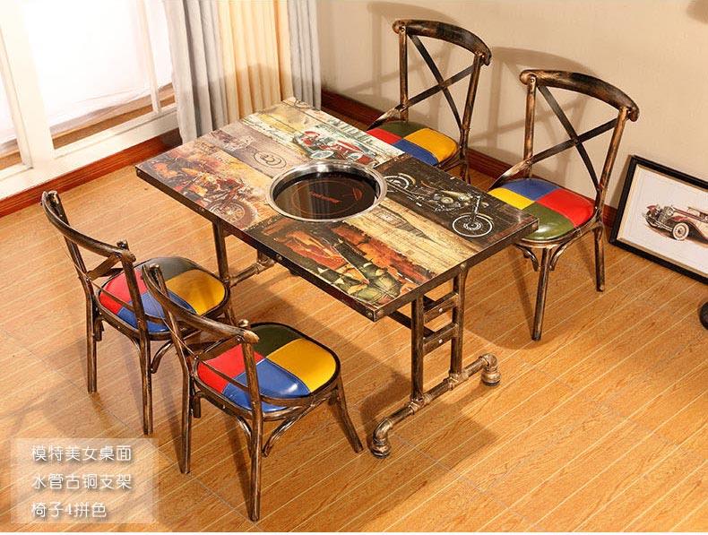 模特美女桌面电磁炉火锅桌椅图片