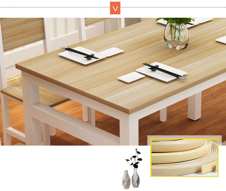 餐厅快餐桌椅封边工艺展示