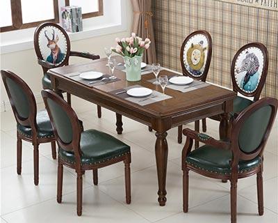 美式西餐桌椅_型号WR013