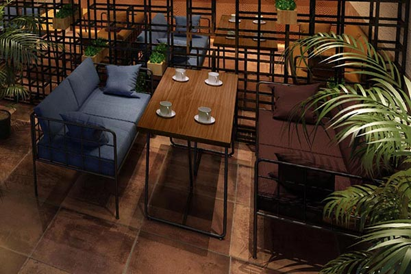 橙色时代酒吧卡座沙发桌椅图片