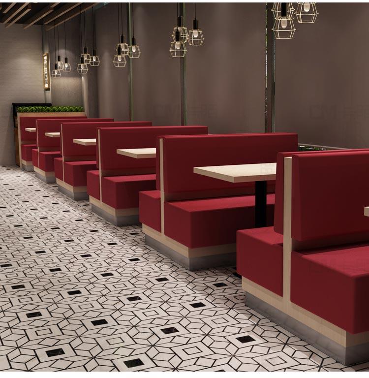 红色kfc卡座沙发图片