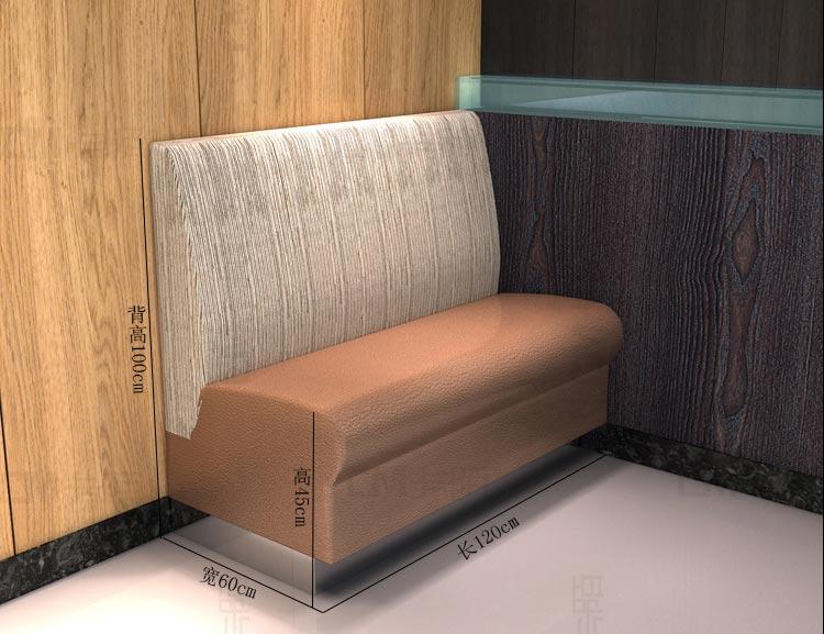 弧形卡座沙发配套单面卡座沙发尺寸参数