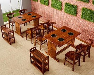 火烧木火锅桌椅_型号HP020