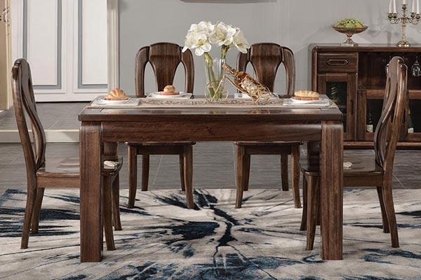 实木餐桌一桌六椅组合