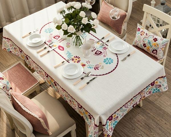 麻混纺印花桌布