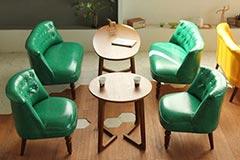 奶茶店沙发桌椅组合