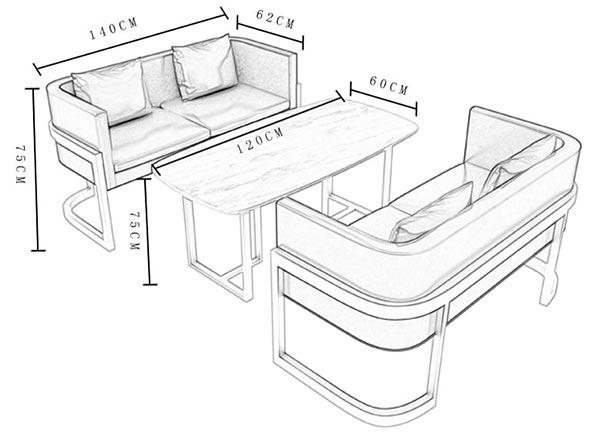 咖啡厅卡座桌子尺寸示意图