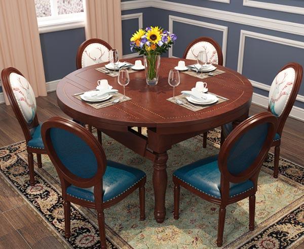 轻奢美式餐桌椅图片